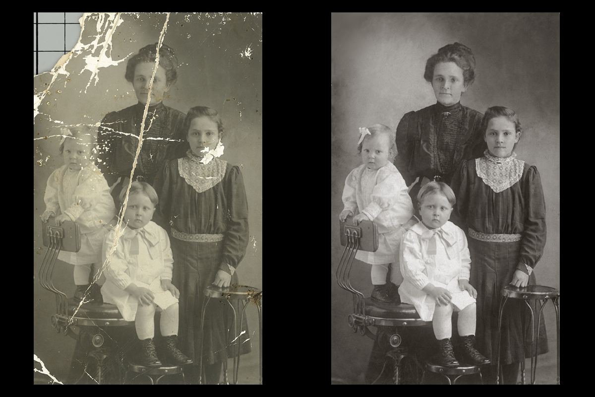 photo restoration - vintage family photo
