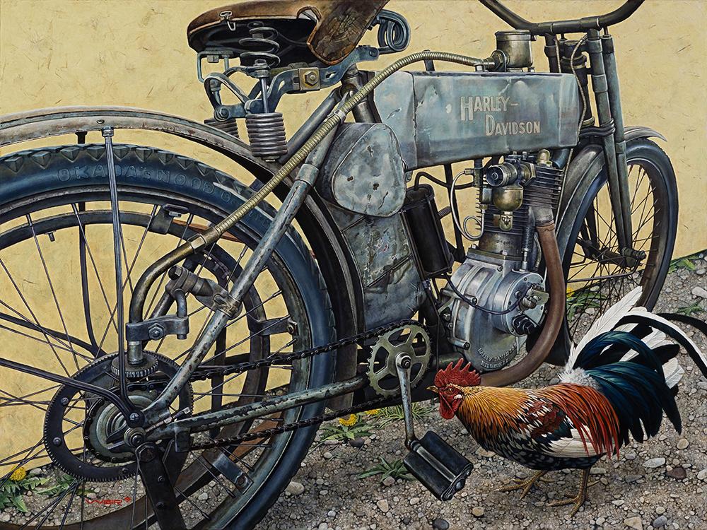 Giclee printing - old Harley Davidson motorcycle